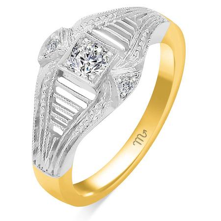 Złoty pierścionek zaręczynowy z brylantami 0,585  (1)