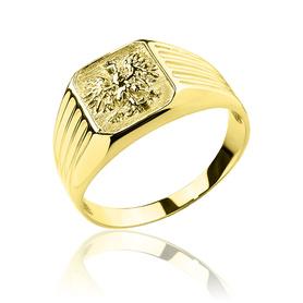 Złoty sygnet z orłem pr. 0,585
